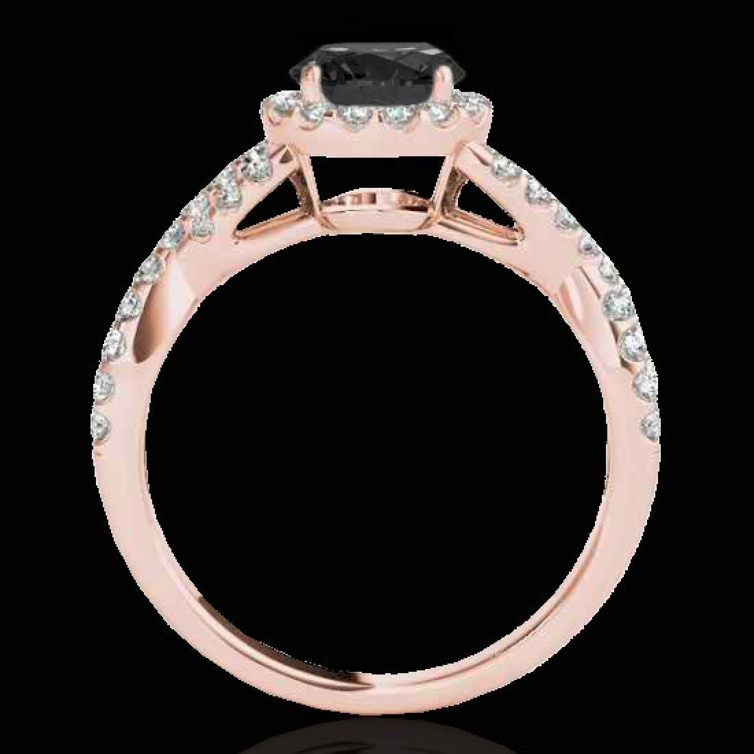 1.54 CTW Certified VS Black Diamond Solitaire Halo Ring - 2