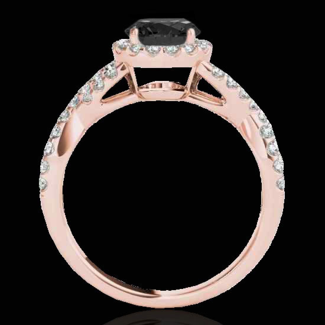 1.54 CTW Certified VS Black Diamond Solitaire Halo Ring - 2