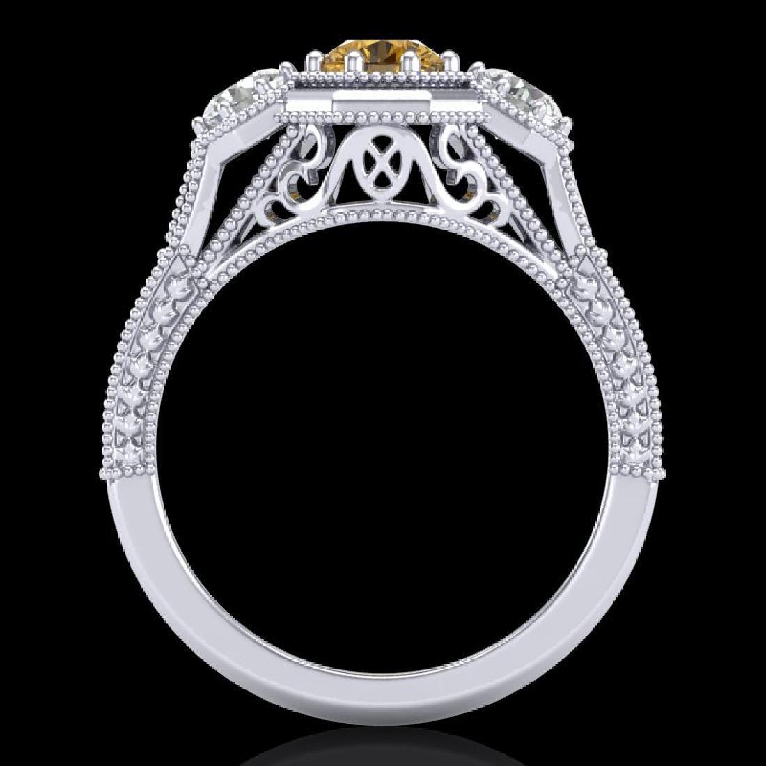 1.05 CTW Intense Fancy Yellow Diamond Art Deco 3 Stone - 3