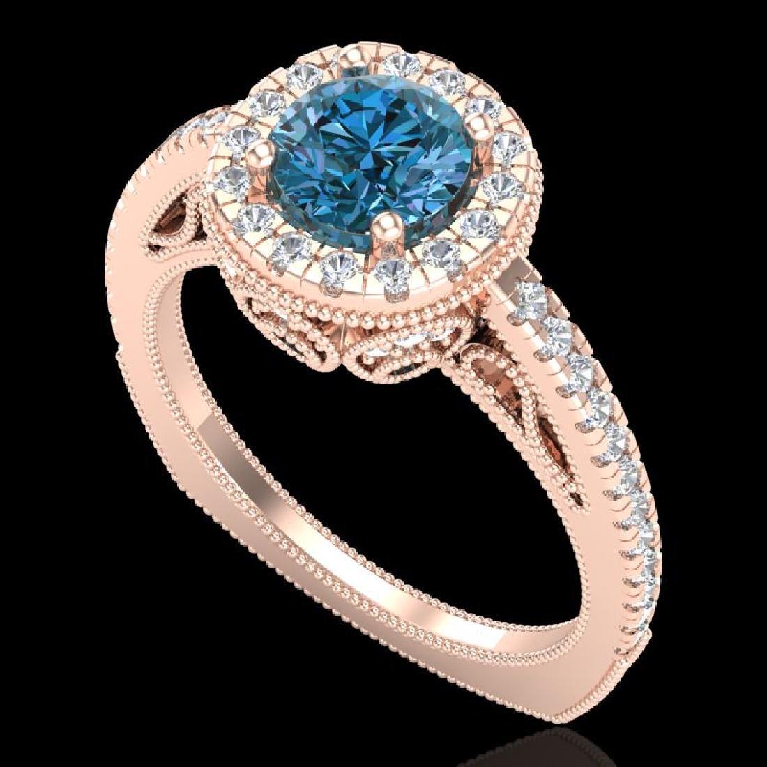 1.55 CTW Fancy Intense Blue Diamond Solitaire Art Deco
