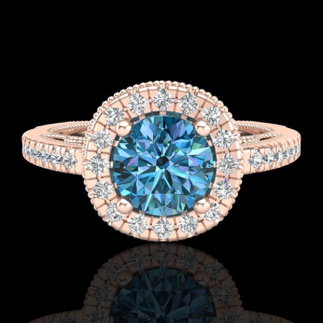 1.55 CTW Fancy Intense Blue Diamond Solitaire Art Deco - 2