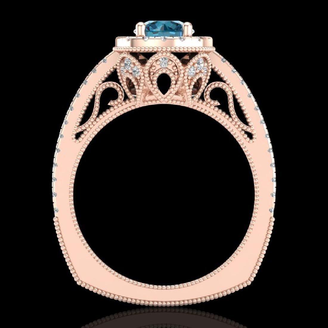 1.55 CTW Fancy Intense Blue Diamond Solitaire Art Deco - 3