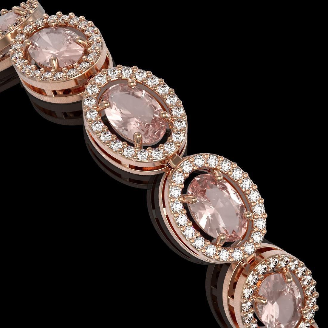 14.25 CTW Morganite & Diamond Halo Bracelet 10K Rose - 2