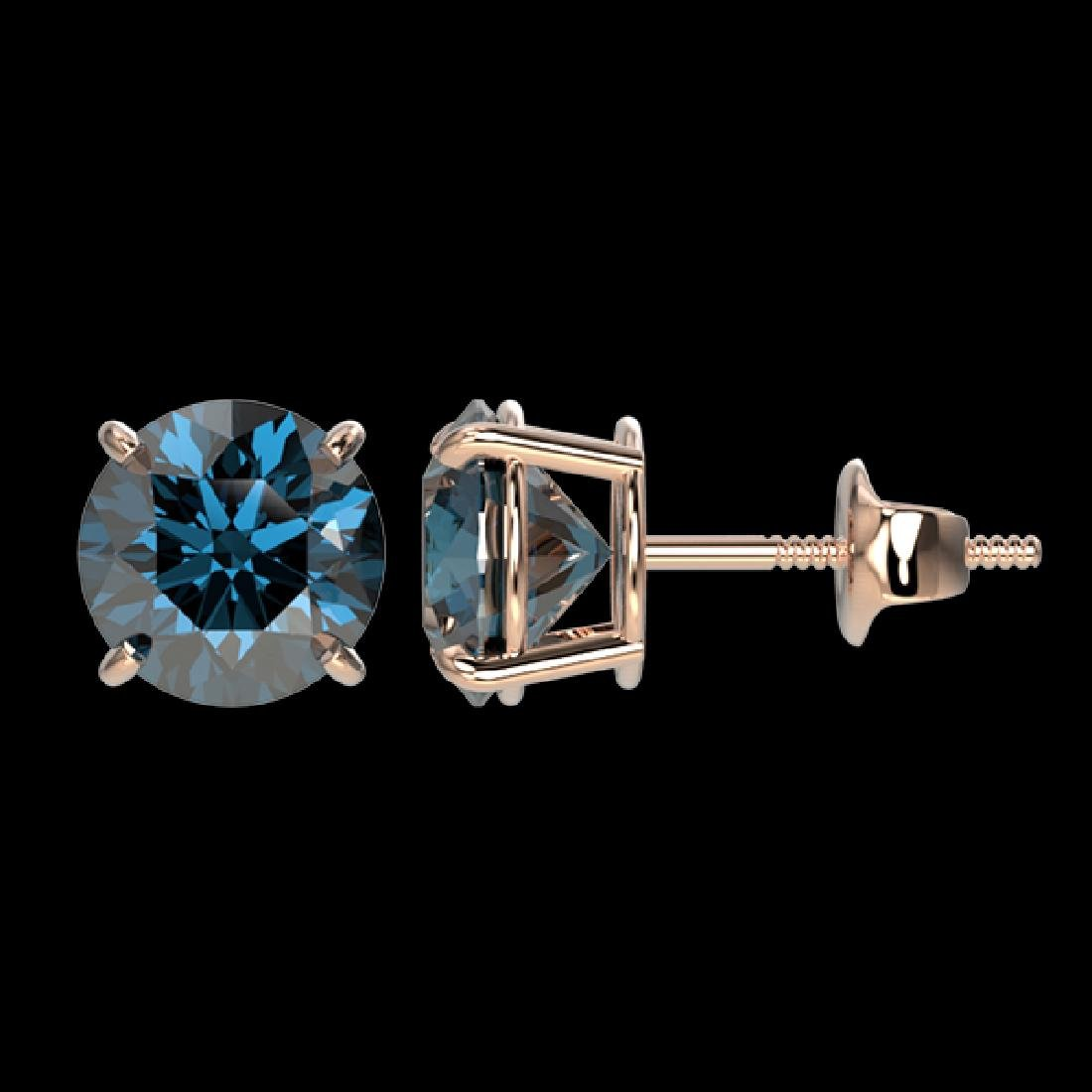 2.11 CTW Certified Intense Blue SI Diamond Solitaire - 2