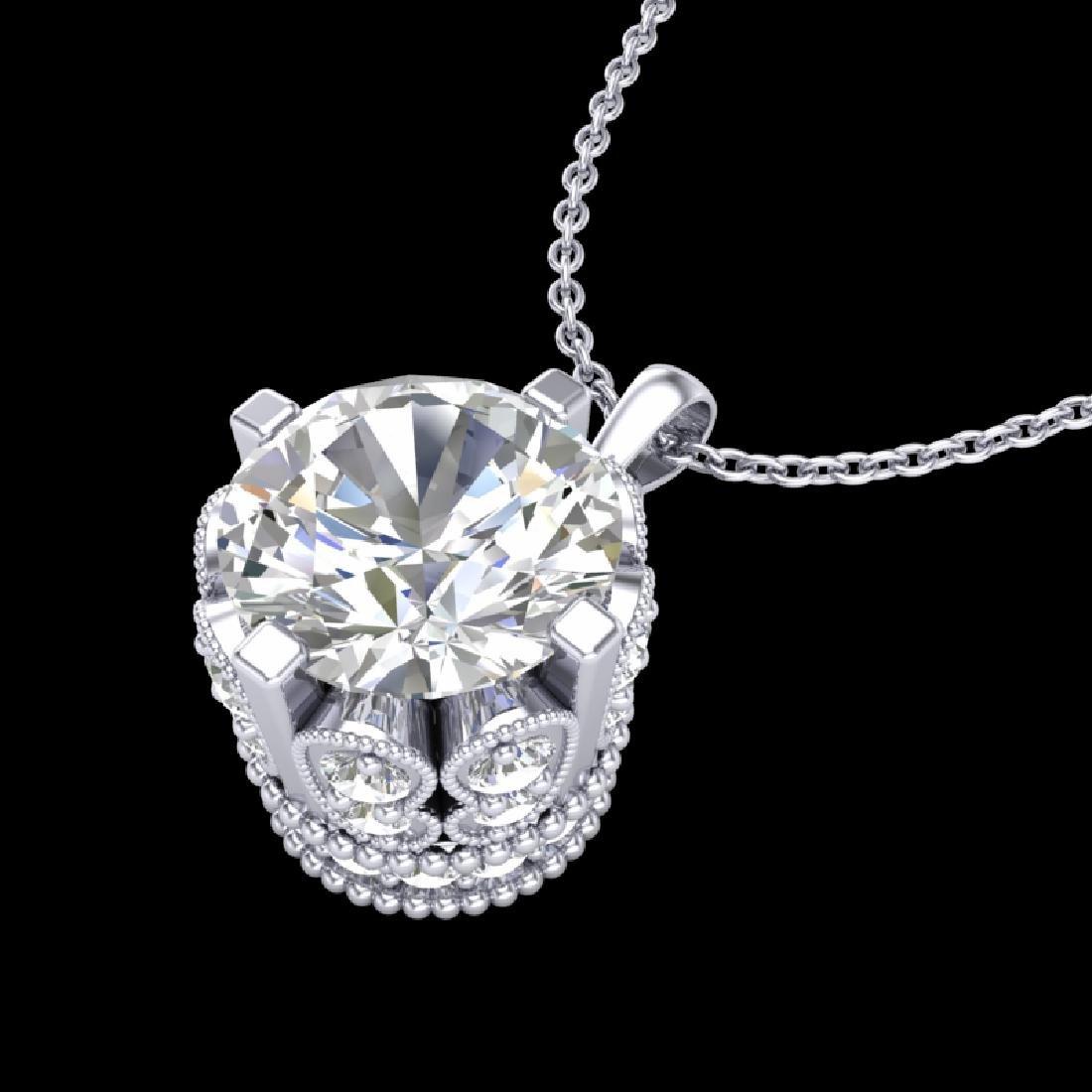 1.5 CTW VS/SI Diamond Solitaire Art Deco Stud Necklace - 2