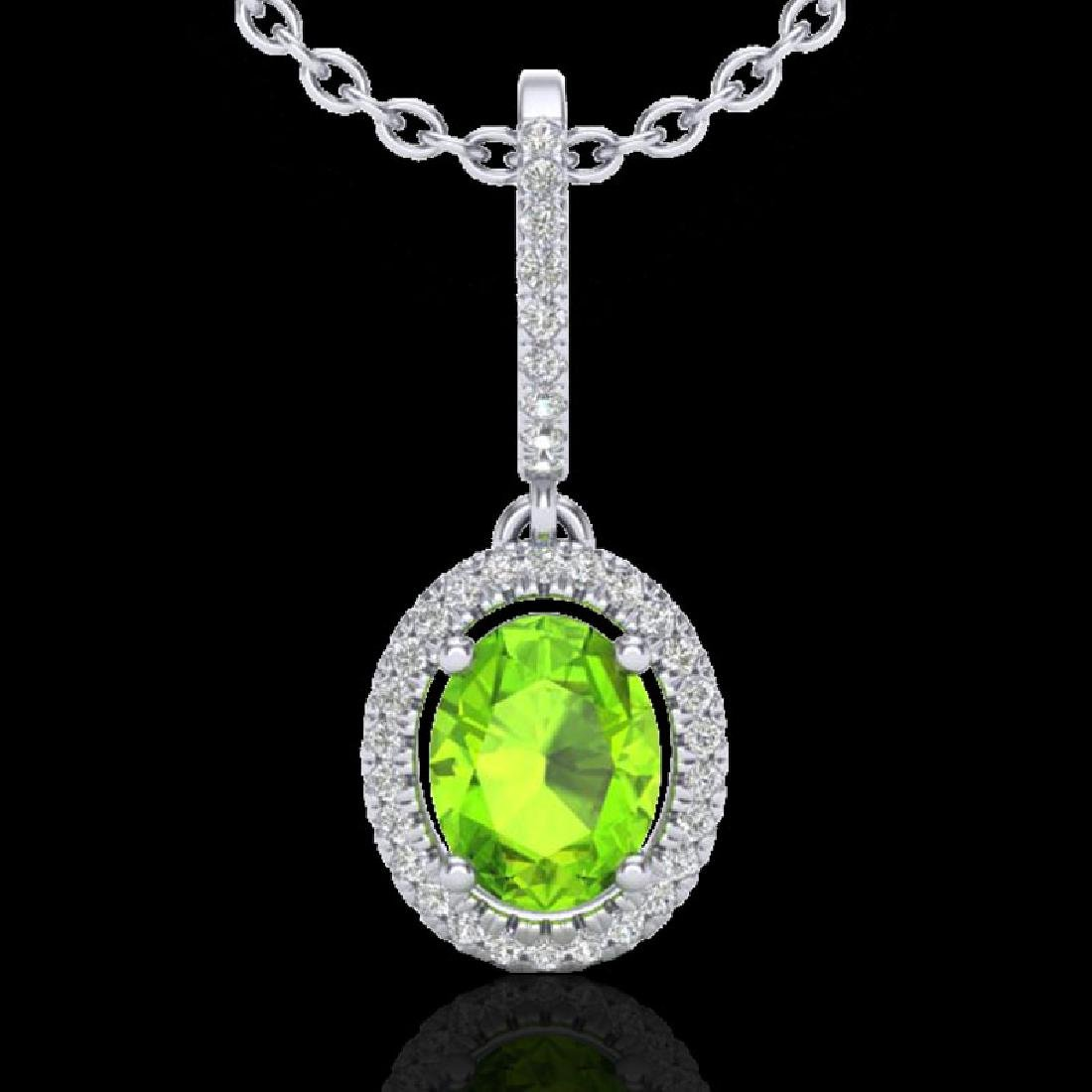 2 CTW Peridot & Micro Pave VS/SI Diamond Necklace