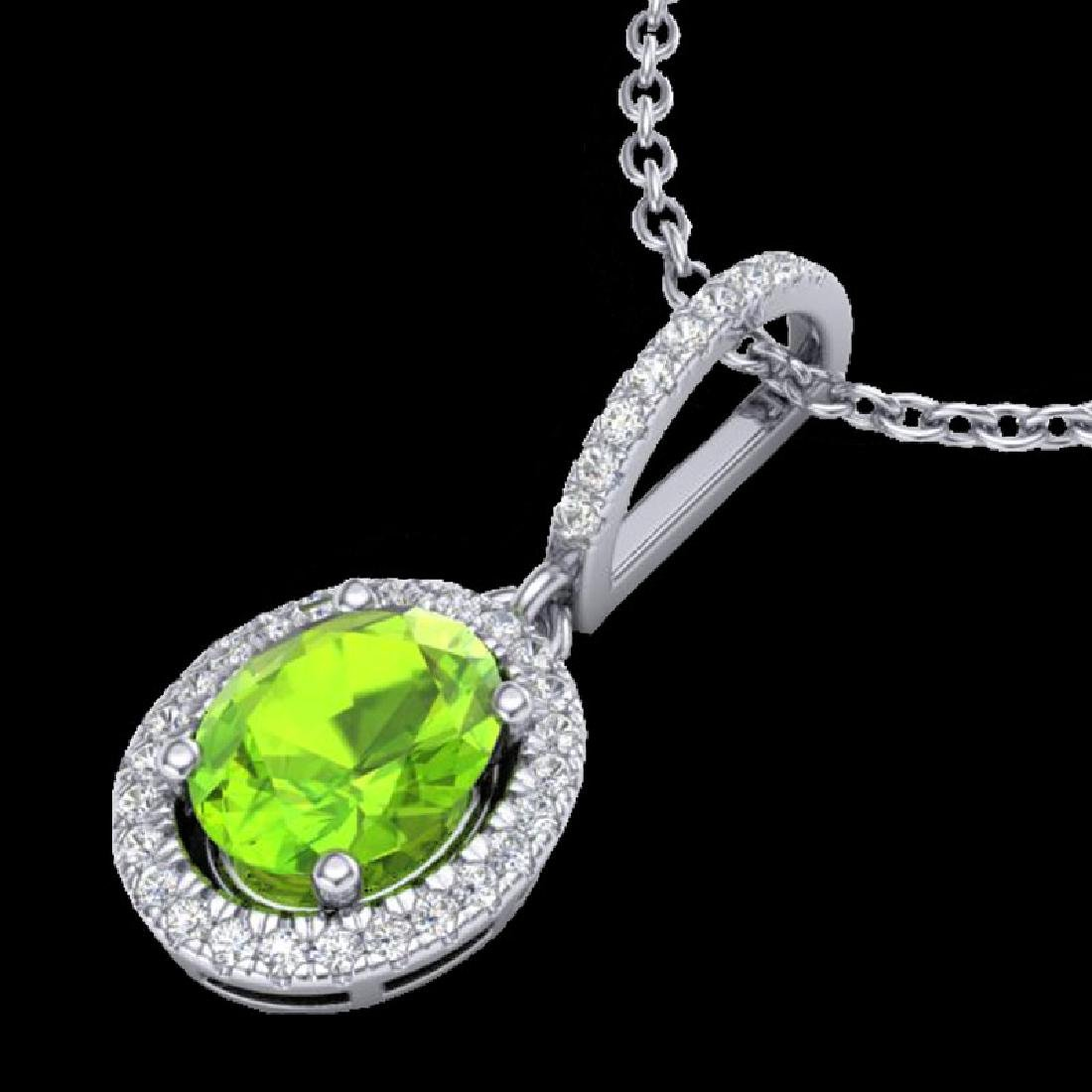 2 CTW Peridot & Micro Pave VS/SI Diamond Necklace - 2