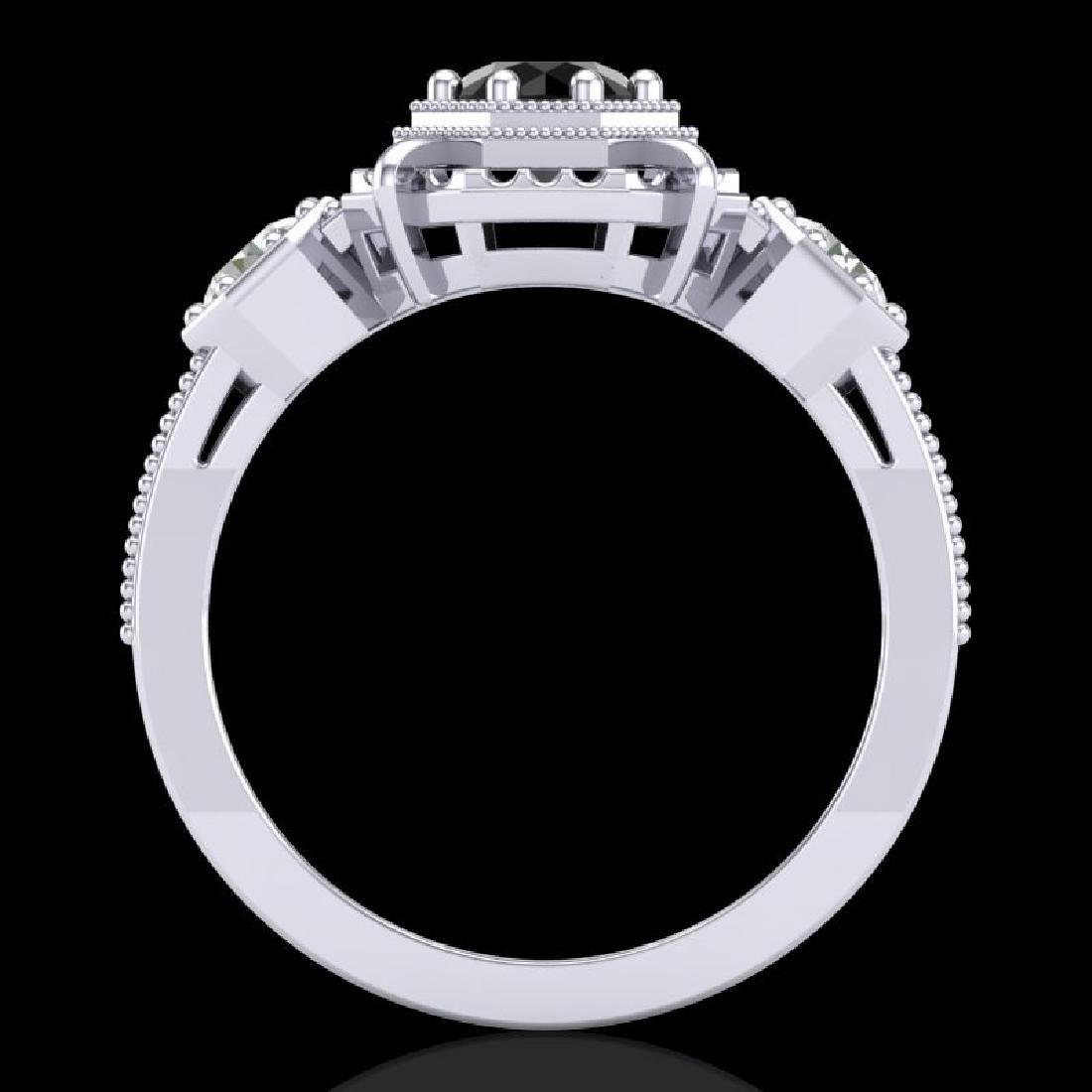 1.01 CTW Fancy Black Diamond Solitaire Art Deco 3 Stone - 3