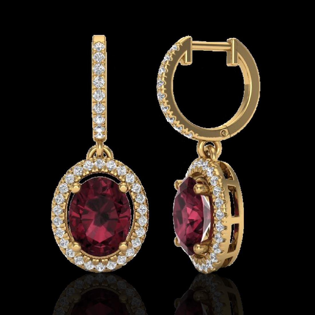 3.75 CTW Garnet & Micro Pave VS/SI Diamond Earrings - 2