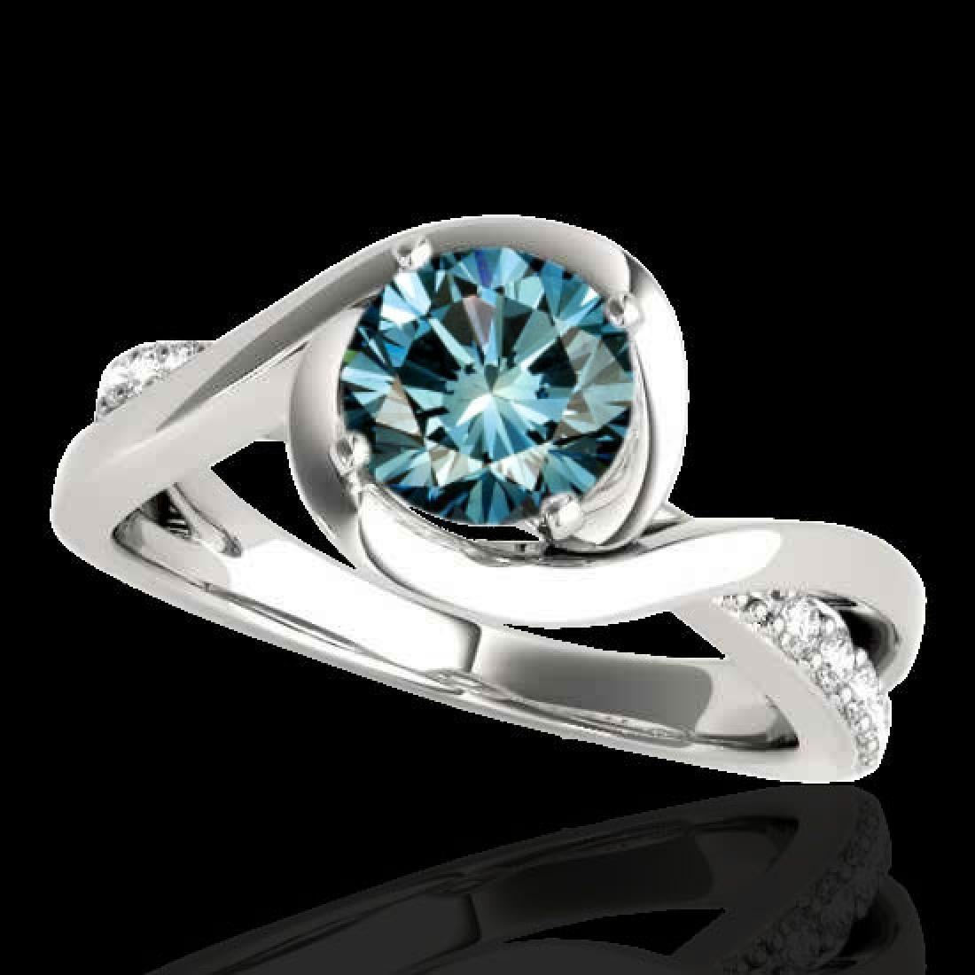 1.15 CTW SI Certified Fancy Blue Diamond Solitaire Ring