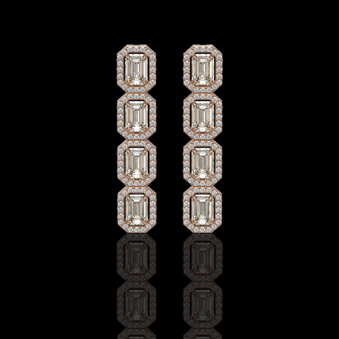 5.33 CTW Emerald Cut Diamond Designer Earrings 18K Rose