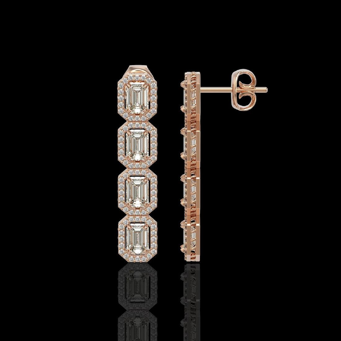 5.33 CTW Emerald Cut Diamond Designer Earrings 18K Rose - 2