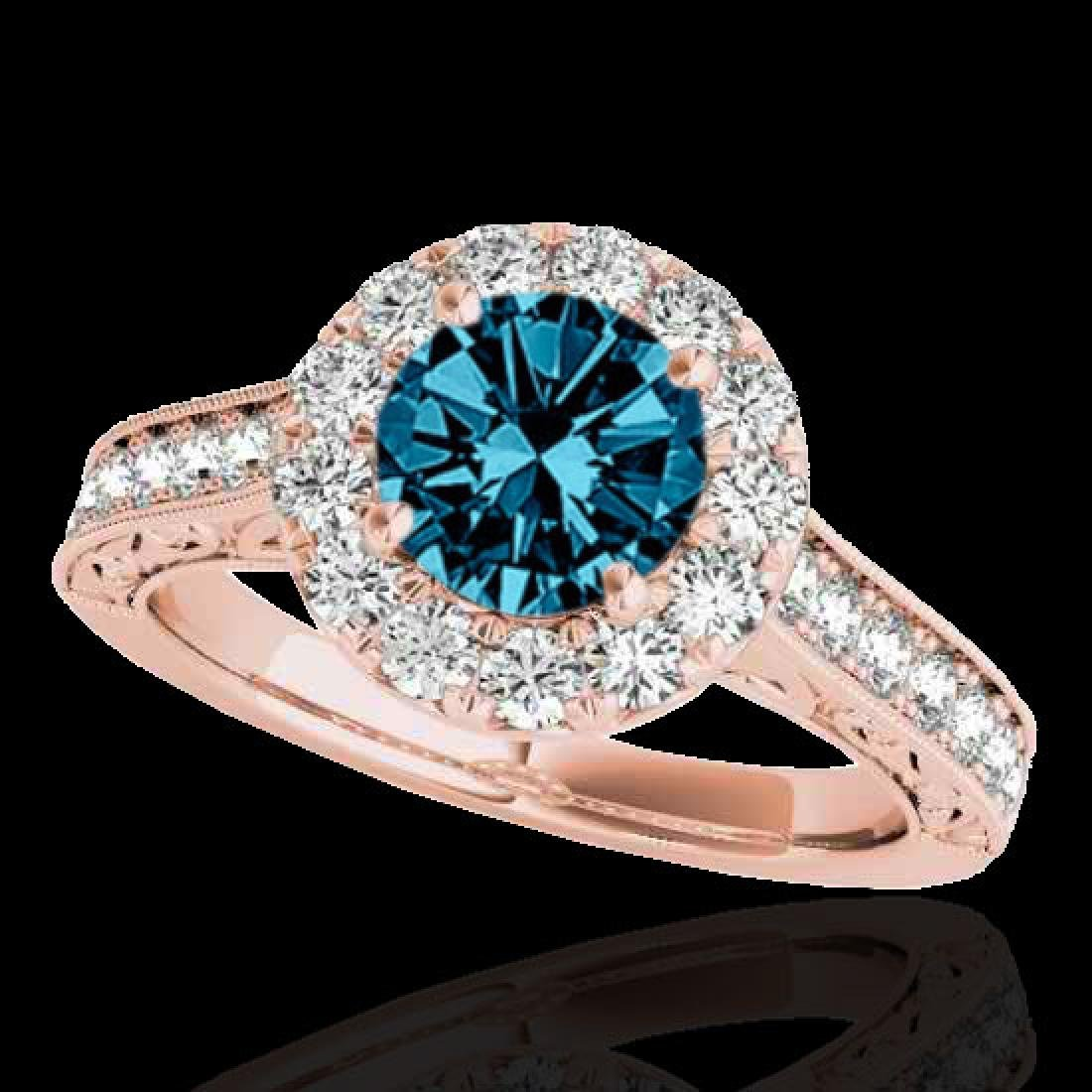 2.22 CTW SI Certified Fancy Blue Diamond Solitaire Halo