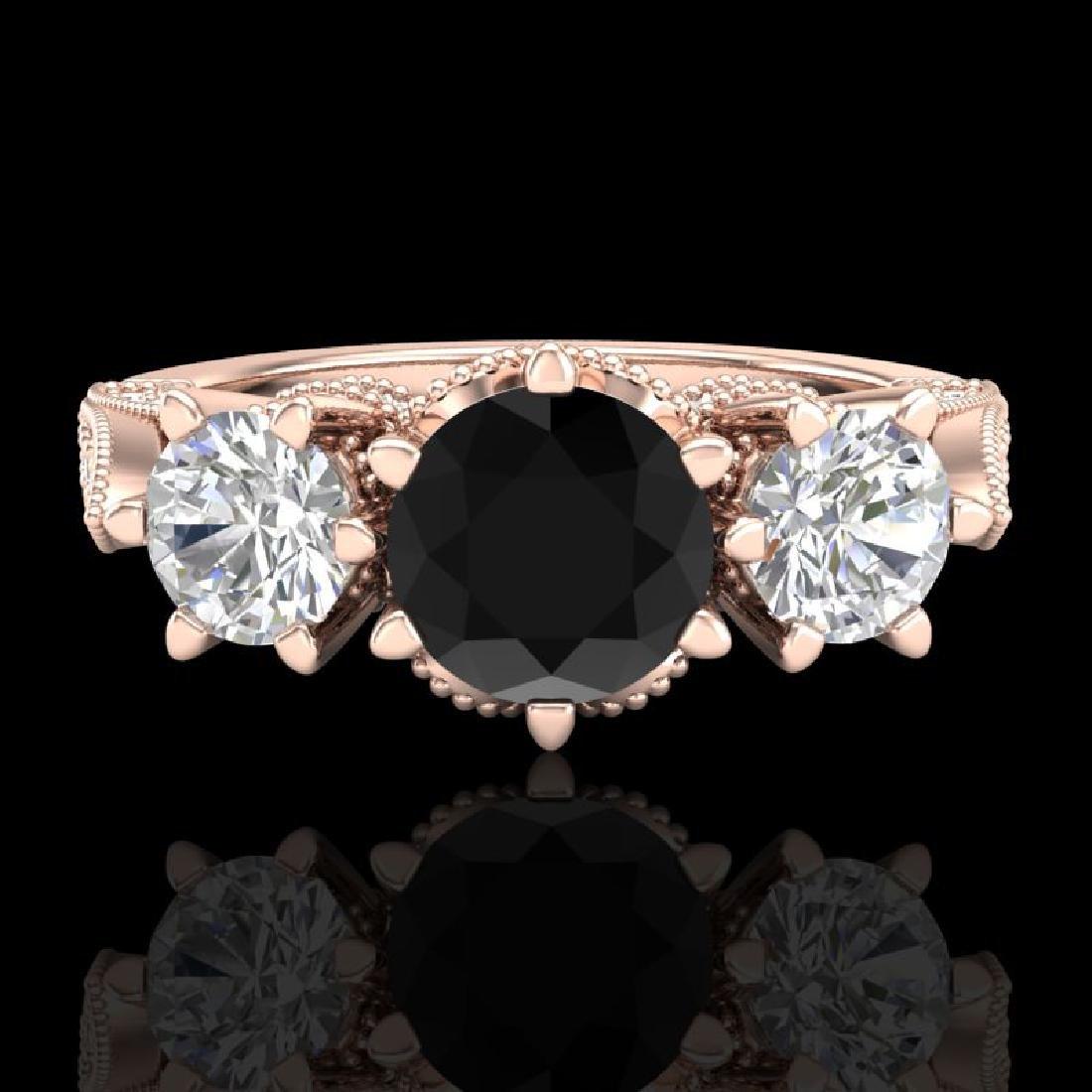 2.18 CTW Fancy Black Diamond Solitaire Art Deco 3 Stone - 2
