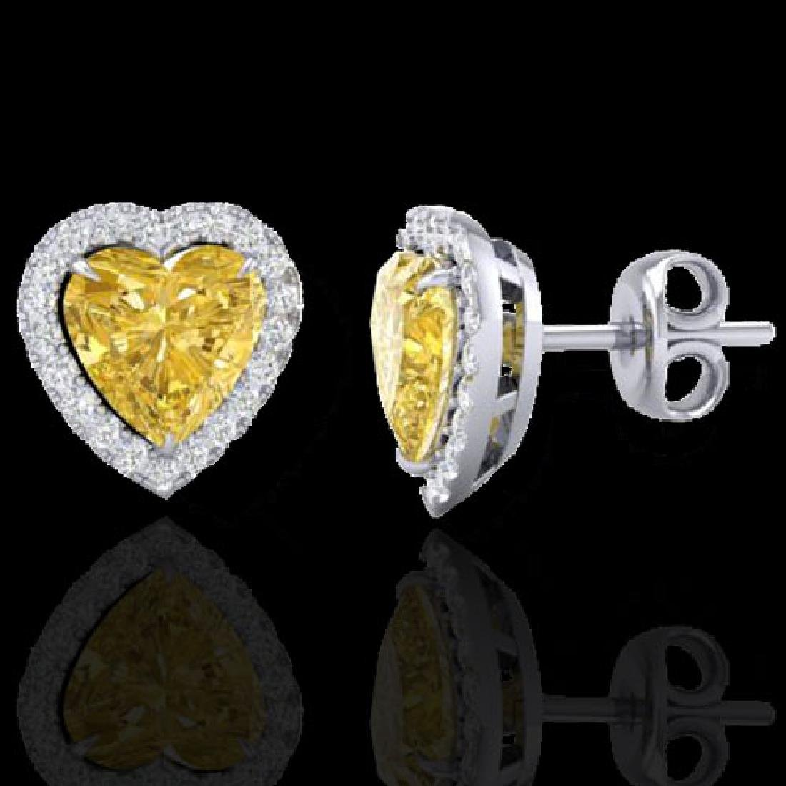 2 CTW Citrine & Micro Pave VS/SI Diamond Earrings Heart - 2