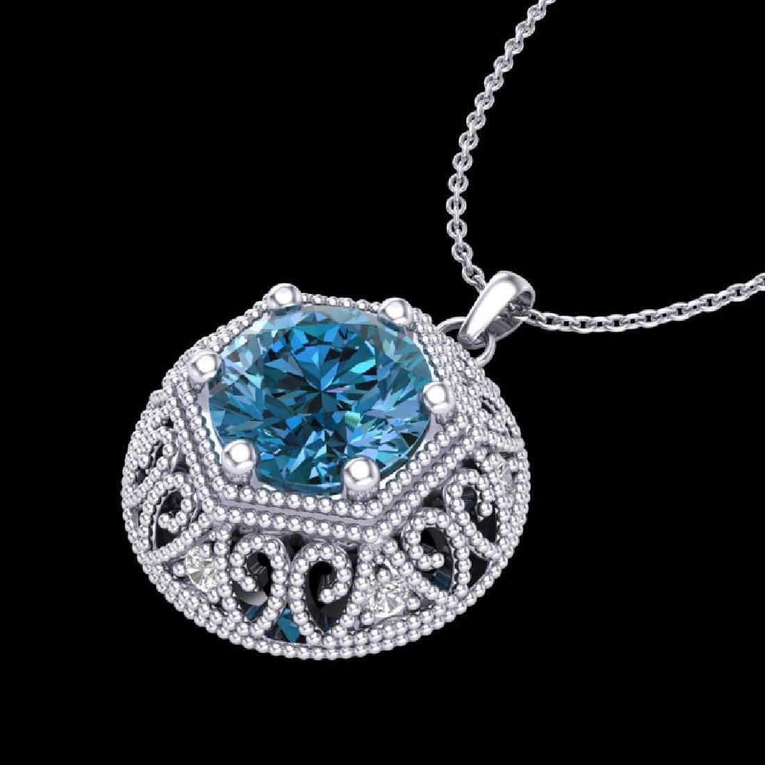 1.11 CTW Fancy Intense Blue Diamond Solitaire Art Deco - 2