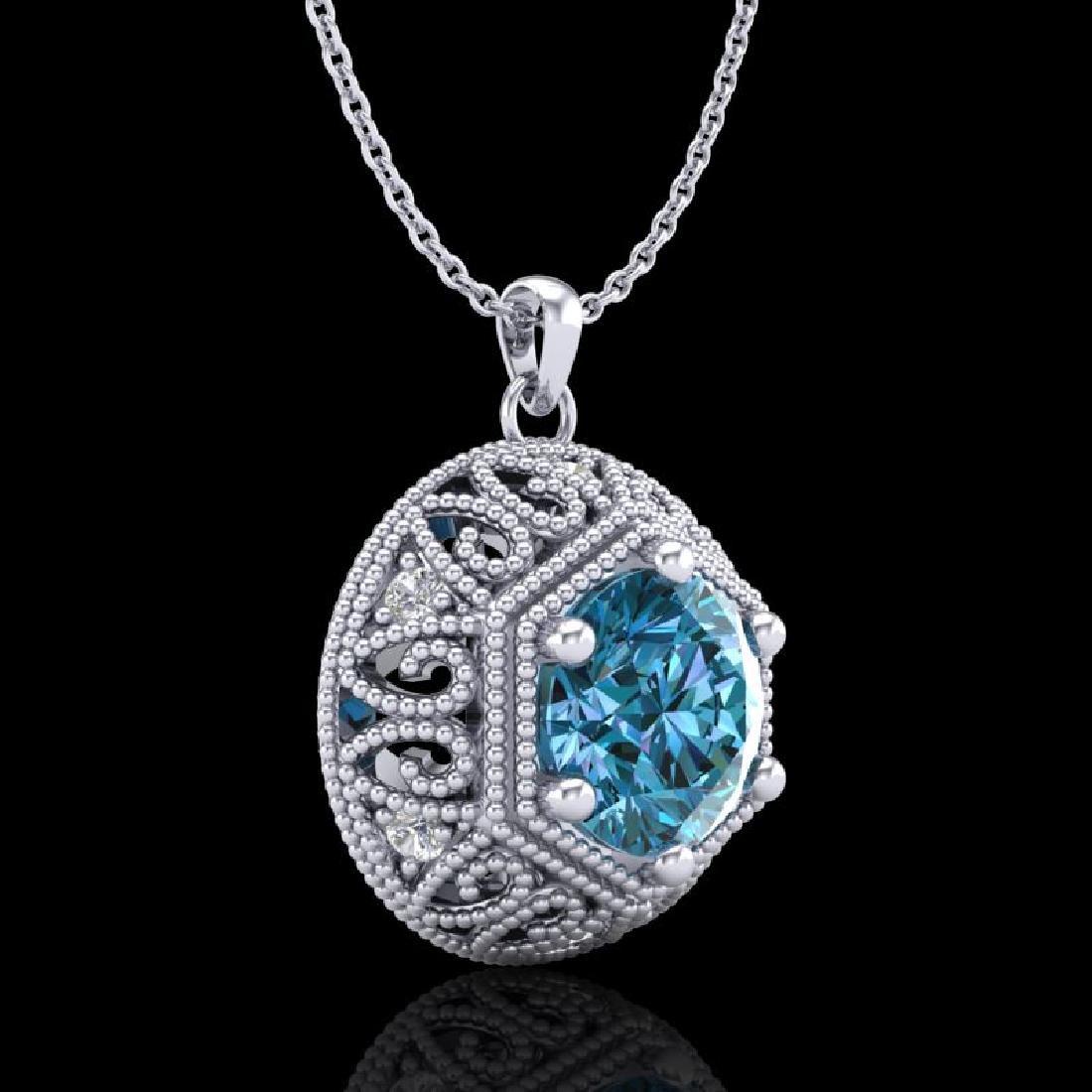 1.11 CTW Fancy Intense Blue Diamond Solitaire Art Deco - 3