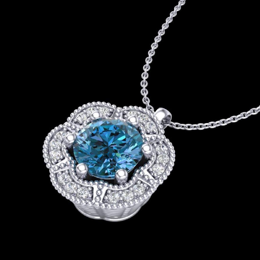 1.01 CTW Fancy Intense Blue Diamond Solitaire Art Deco - 2