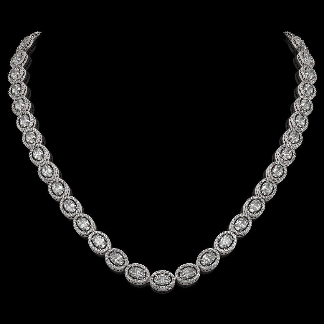 30.41 CTW Oval Diamond Designer Necklace 18K White Gold