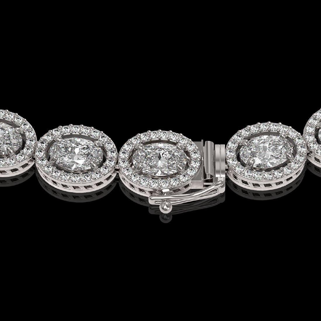 30.41 CTW Oval Diamond Designer Necklace 18K White Gold - 3