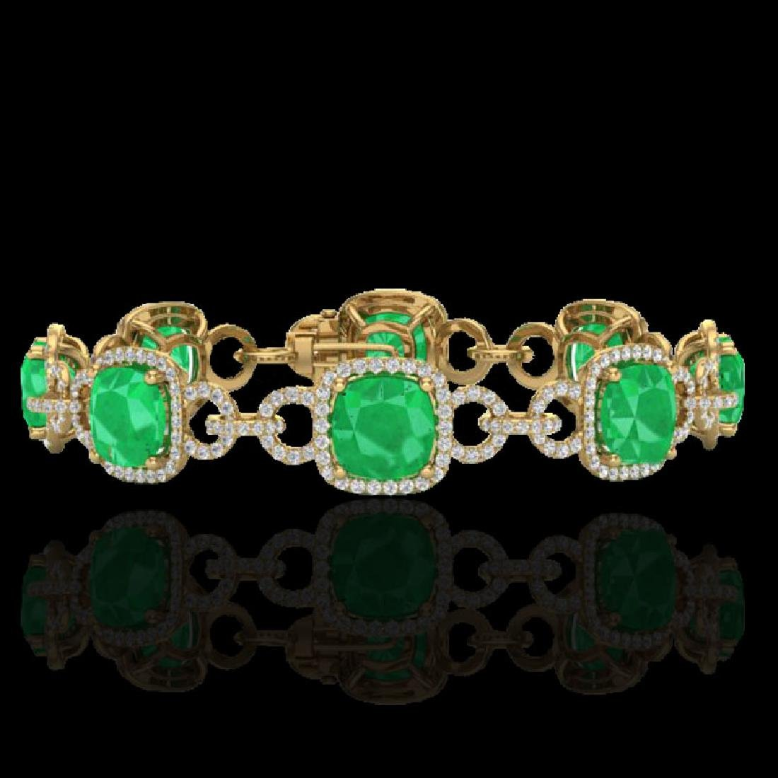 25 CTW Emerald & Micro VS/SI Diamond Bracelet 14K