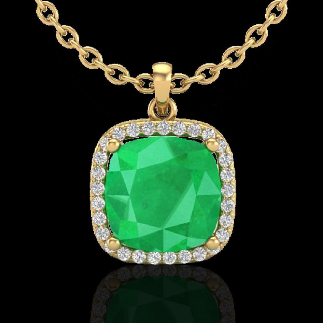 6 CTW Emerald & Micro Pave Halo VS/SI Diamond Necklace - 2