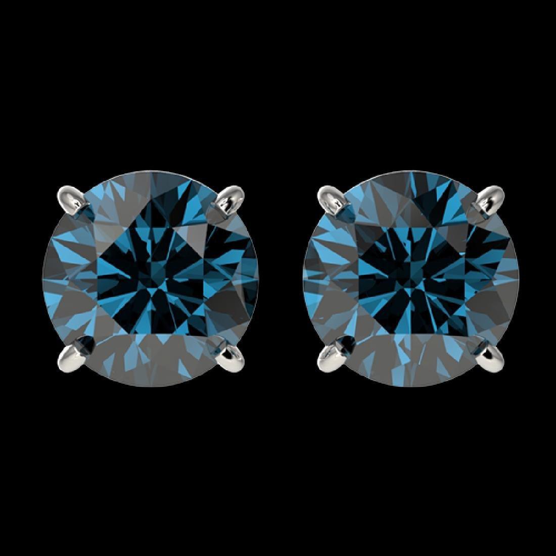 2 CTW Certified Intense Blue SI Diamond Solitaire Stud