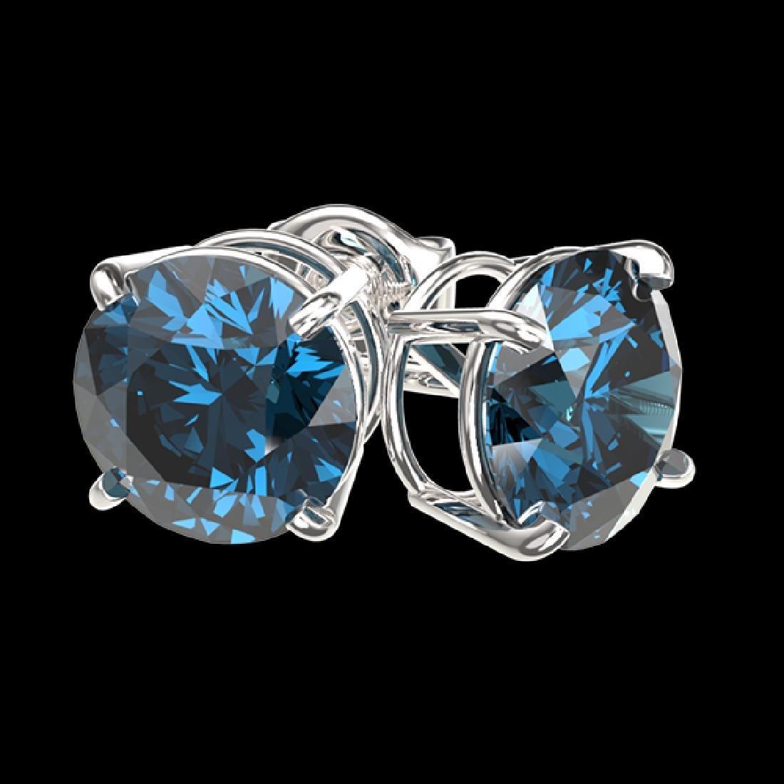 2 CTW Certified Intense Blue SI Diamond Solitaire Stud - 3