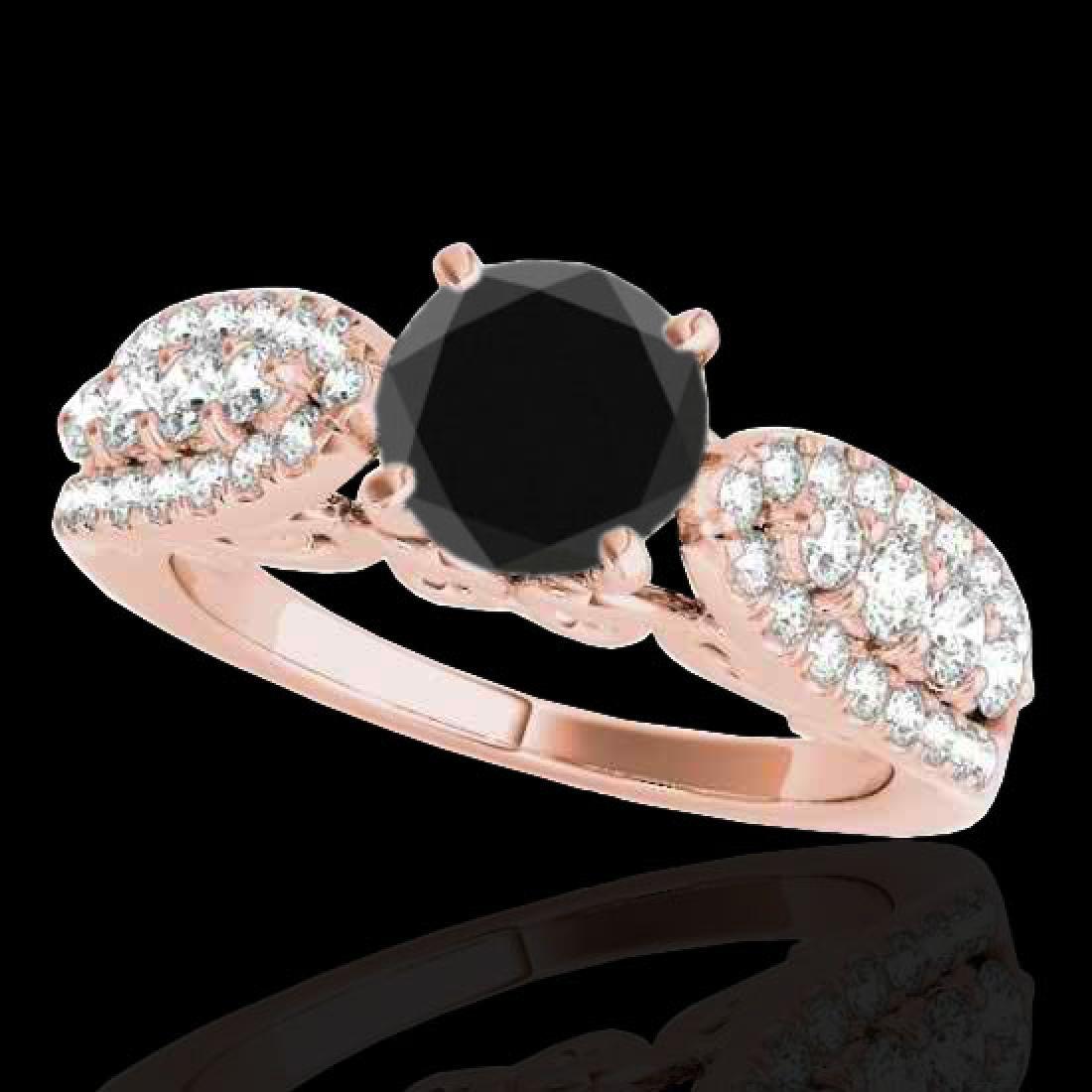 1.7 CTW Certified VS Black Diamond Solitaire Ring 10K