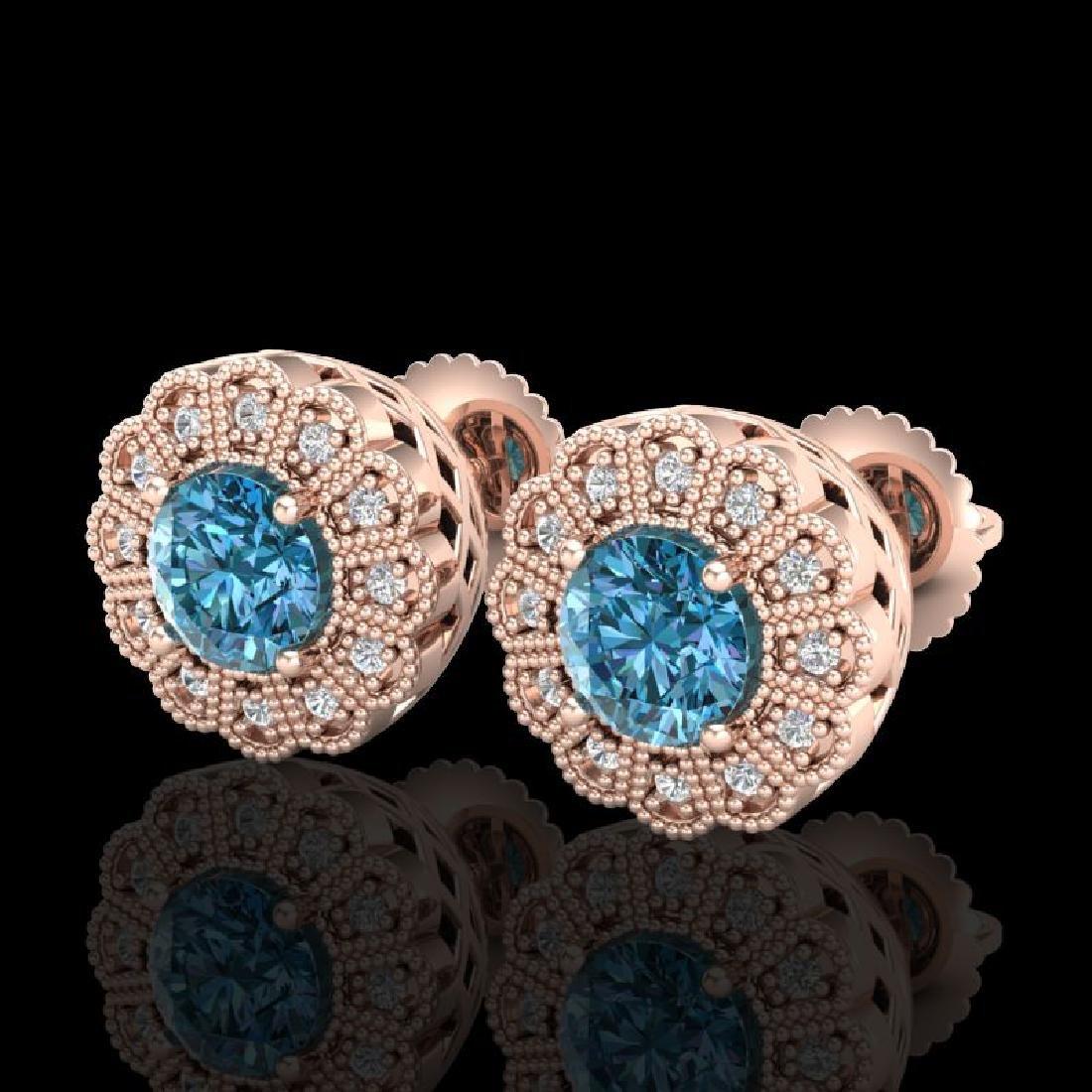 1.32 CTW Fancy Intense Blue Diamond Art Deco Stud