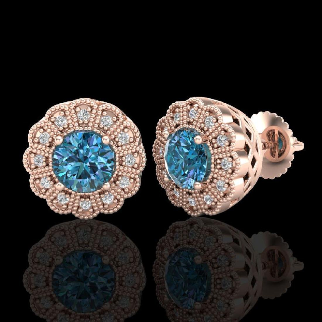 1.32 CTW Fancy Intense Blue Diamond Art Deco Stud - 2