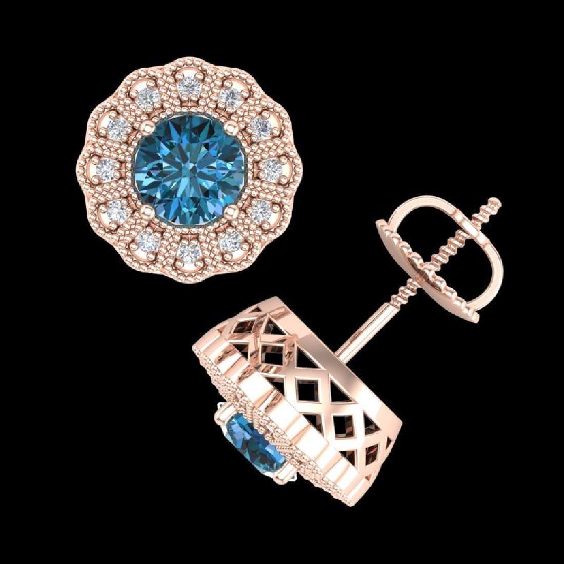 1.32 CTW Fancy Intense Blue Diamond Art Deco Stud - 3