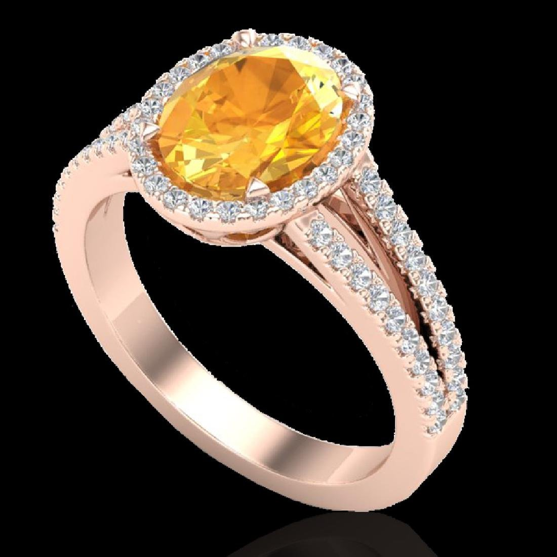 3 CTW Citrine & Micro VS/SI Diamond Halo Solitaire Ring - 2