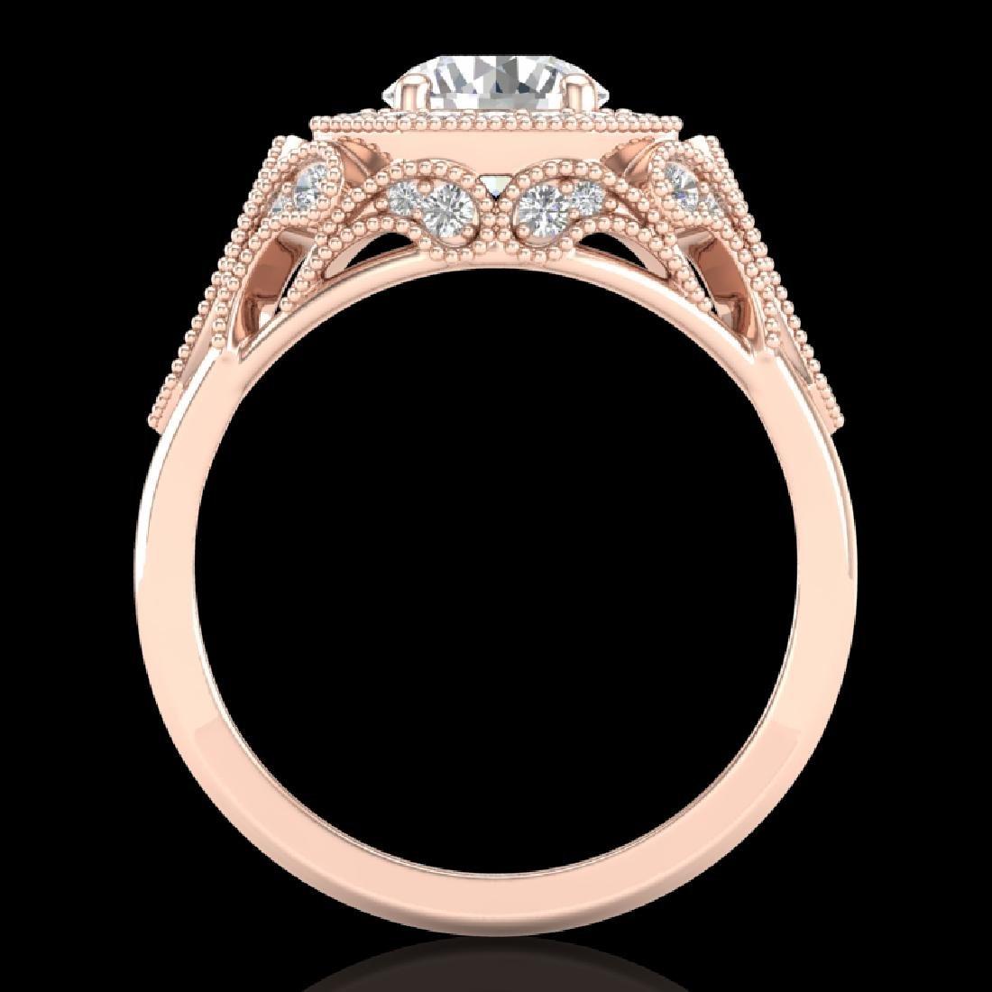 1.75 CTW VS/SI Diamond Solitaire Art Deco Ring 18K Rose