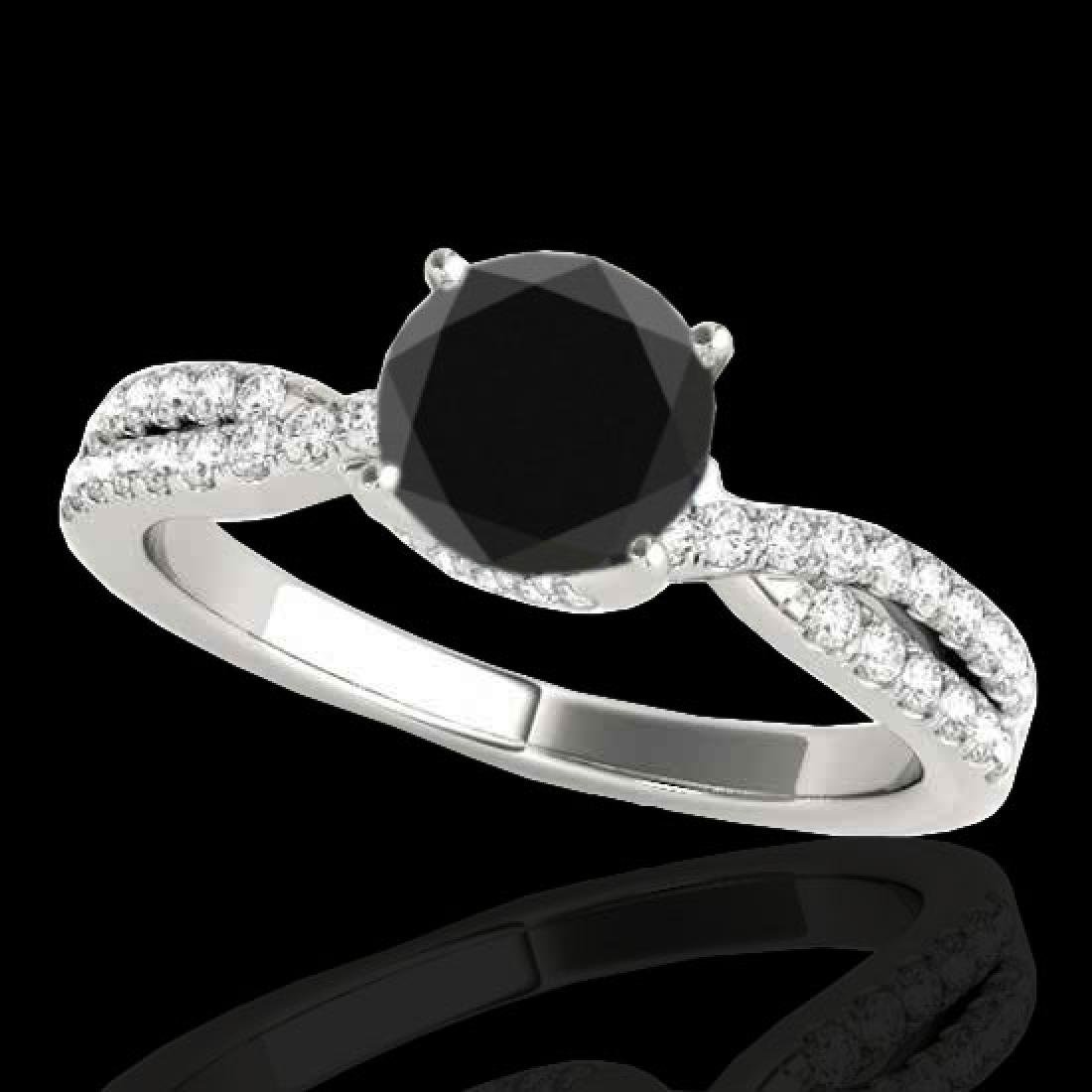1.3 CTW Certified VS Black Diamond Solitaire Ring 10K