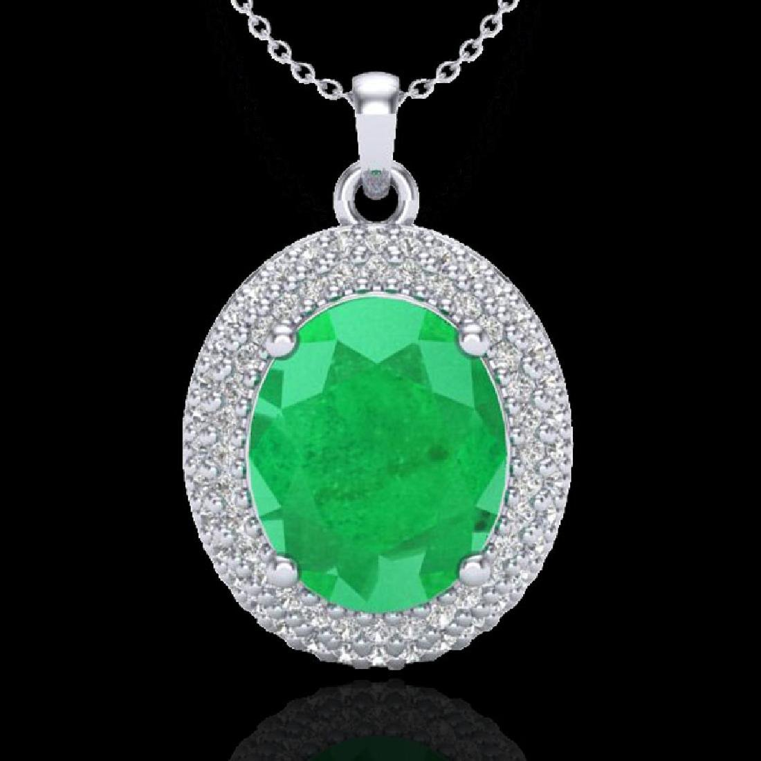 4.50 CTW Emerald & Micro Pave VS/SI Diamond Necklace