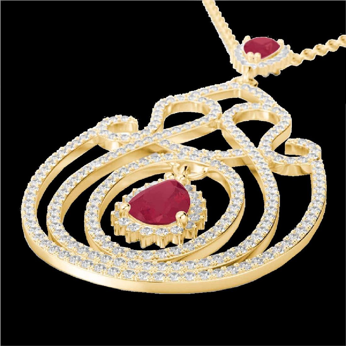 3.20 CTW Ruby And Micro Pave VS/SI Diamond Heart