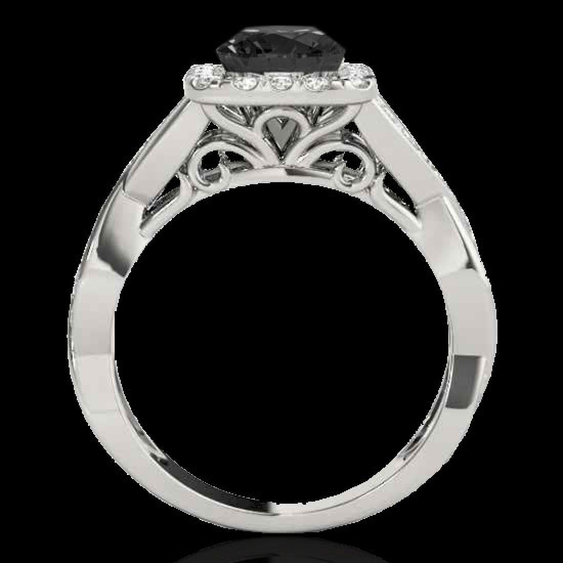 2 CTW Certified VS Black Diamond Solitaire Halo Ring - 2