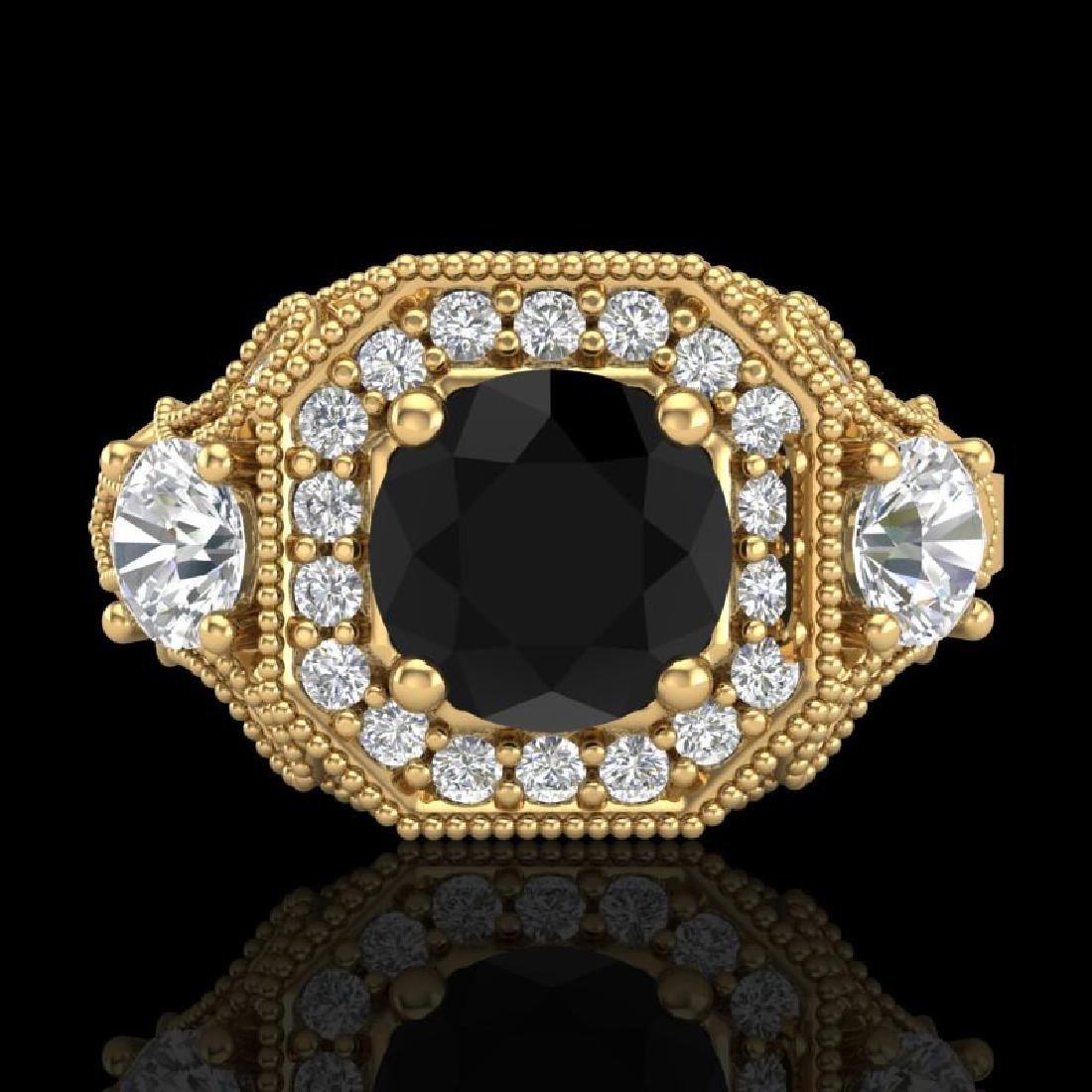 2.11 CTW Fancy Black Diamond Solitaire Art Deco 3 Stone - 2