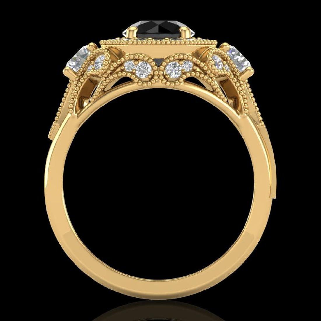 2.11 CTW Fancy Black Diamond Solitaire Art Deco 3 Stone - 3