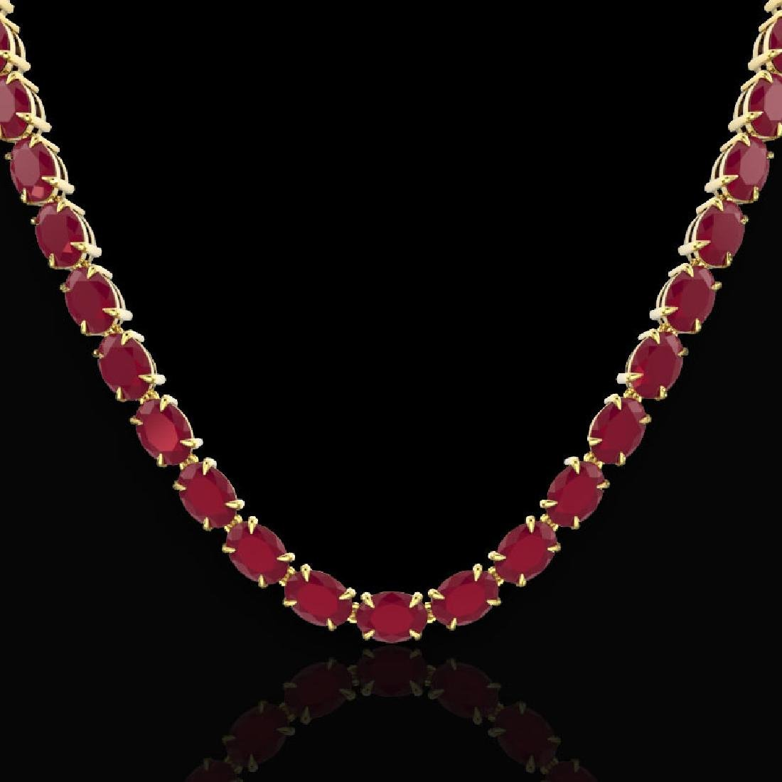 68 CTW Ruby Eternity Designer Inspired Tennis Necklace - 2