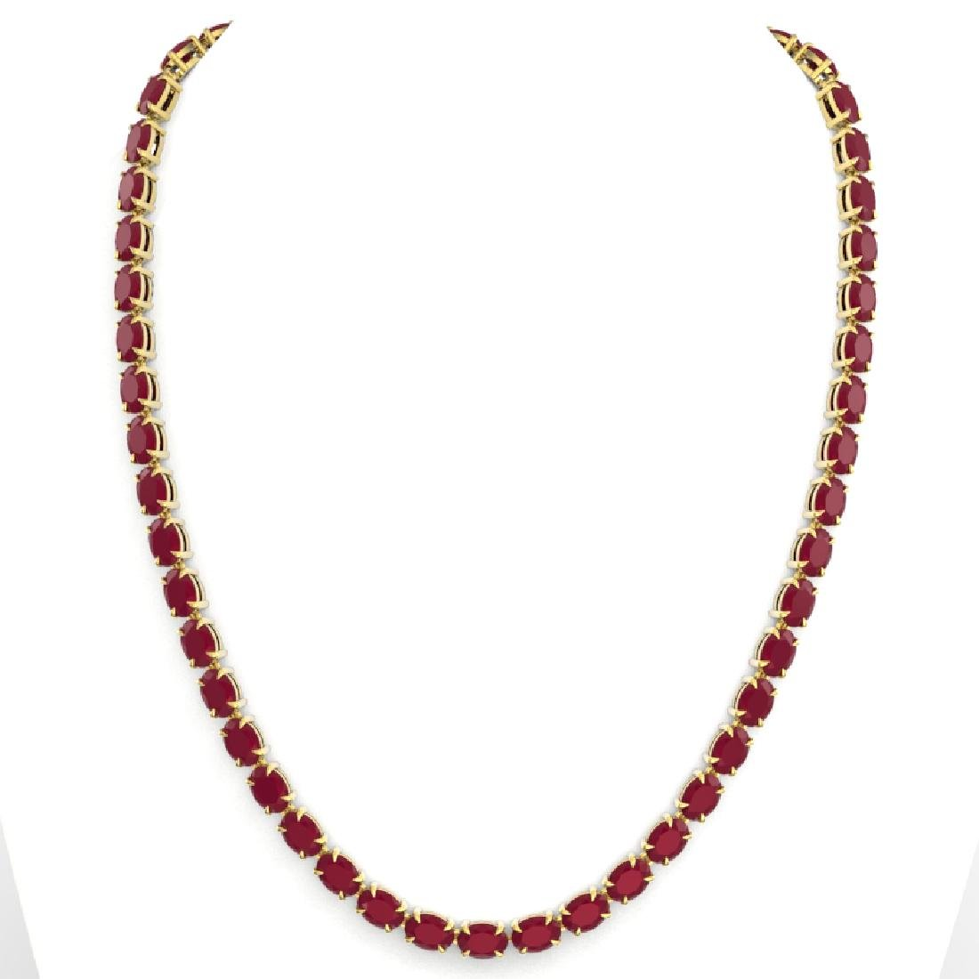 68 CTW Ruby Eternity Designer Inspired Tennis Necklace - 3