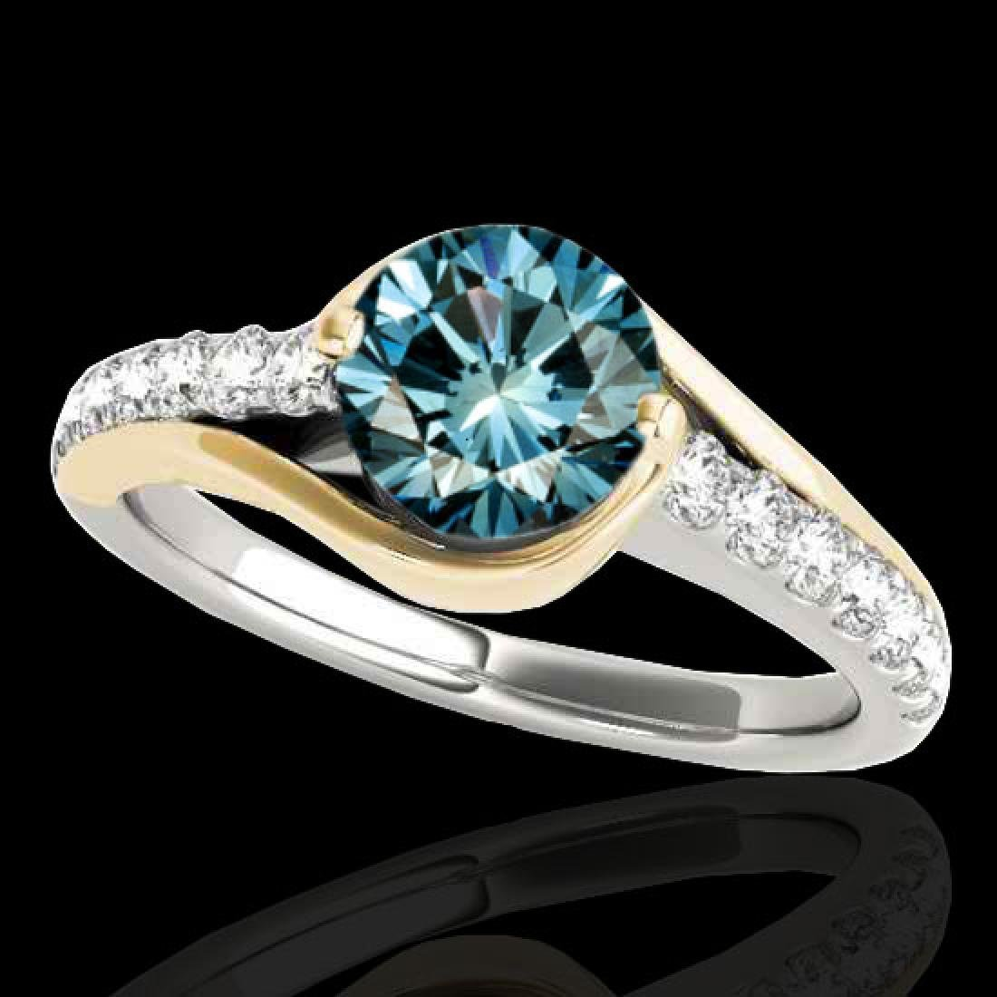 1.25 CTW SI Certified Blue Diamond Solitaire Ring 10K