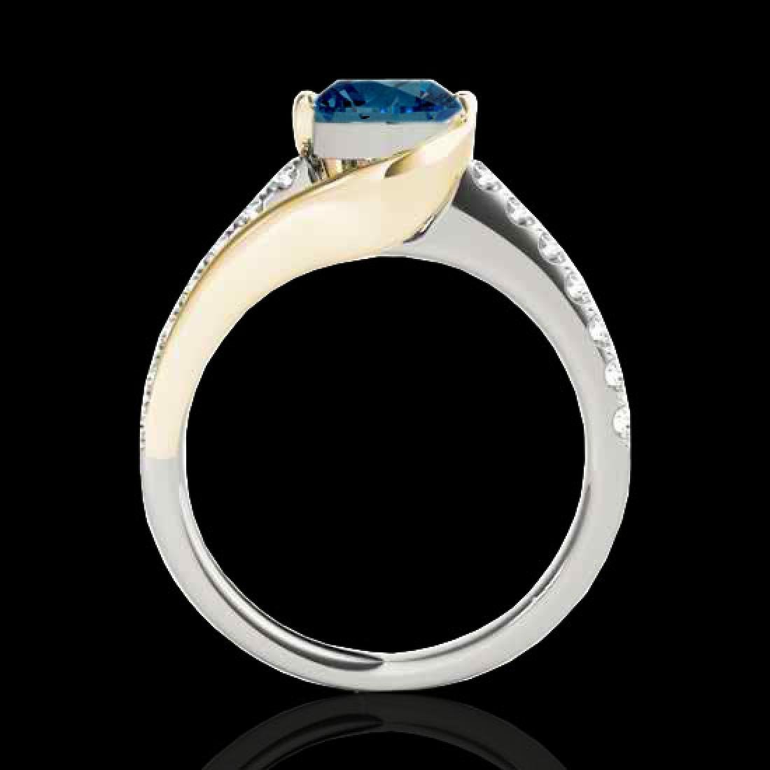 1.25 CTW SI Certified Blue Diamond Solitaire Ring 10K - 2