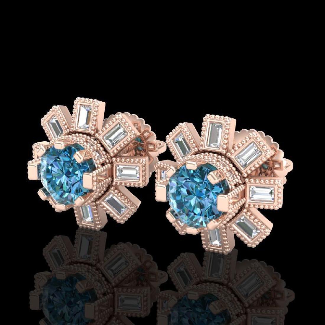 1.77 CTW Fancy Intense Blue Diamond Art Deco Stud