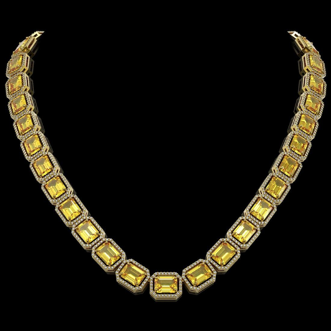 77.35 CTW Fancy Citrine & Diamond Halo Necklace 10K