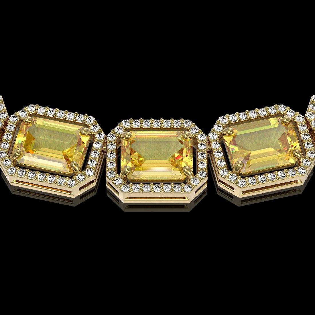 77.35 CTW Fancy Citrine & Diamond Halo Necklace 10K - 3