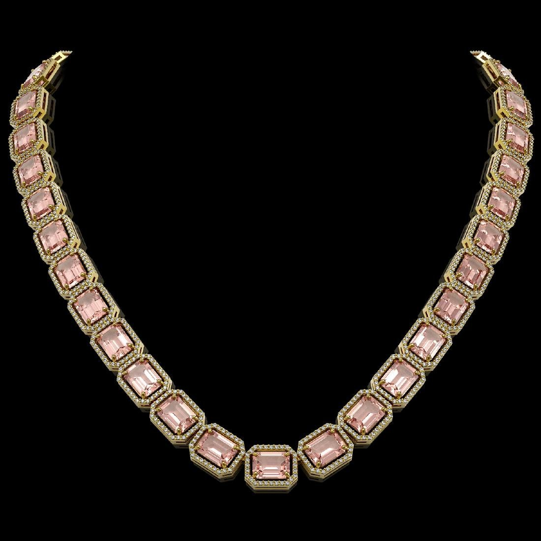 81.64 CTW Morganite & Diamond Halo Necklace 10K Yellow