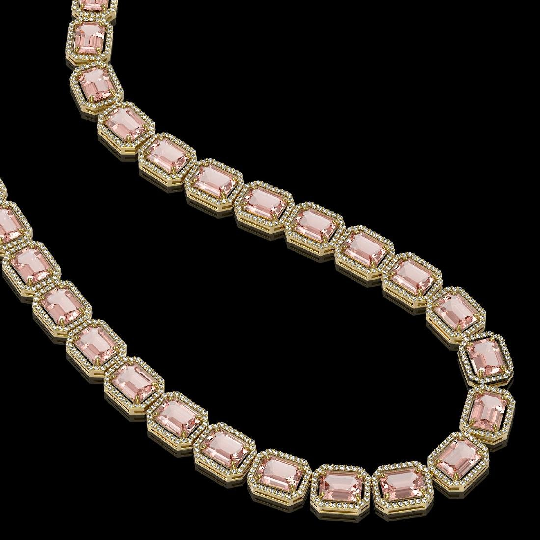 81.64 CTW Morganite & Diamond Halo Necklace 10K Yellow - 2
