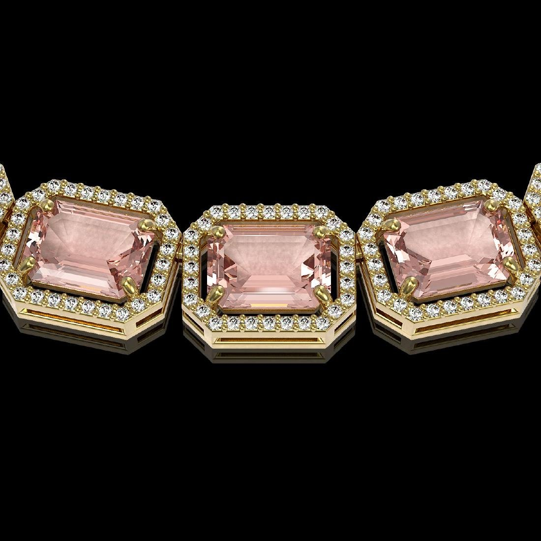 81.64 CTW Morganite & Diamond Halo Necklace 10K Yellow - 3